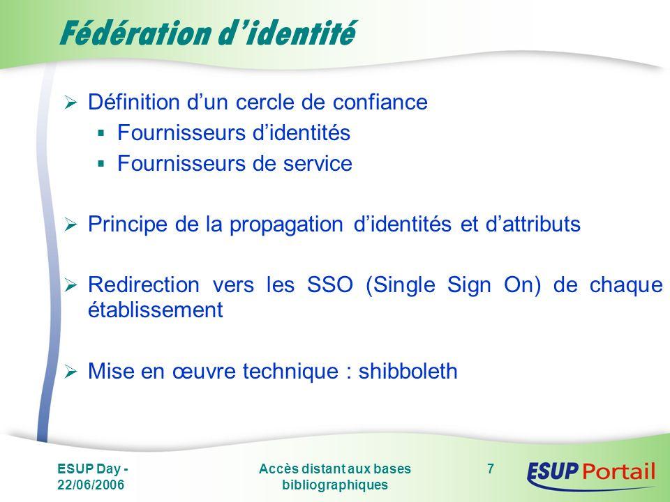 ESUP Day - 22/06/2006 Accès distant aux bases bibliographiques 7 Fédération didentité Définition dun cercle de confiance Fournisseurs didentités Fourn