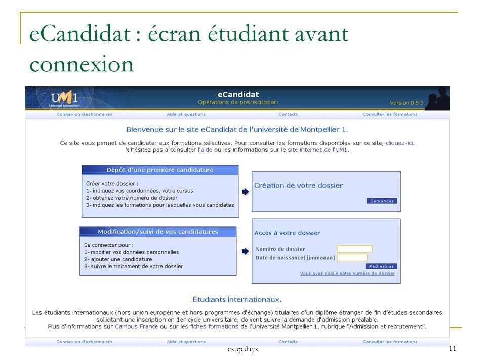 esup days 11 eCandidat : écran étudiant avant connexion