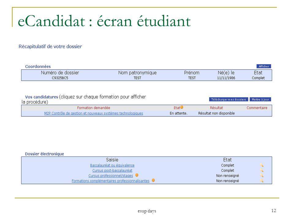 esup days 12 eCandidat : écran étudiant