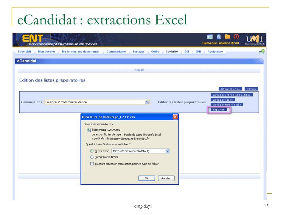 esup days 15 eCandidat : extractions Excel