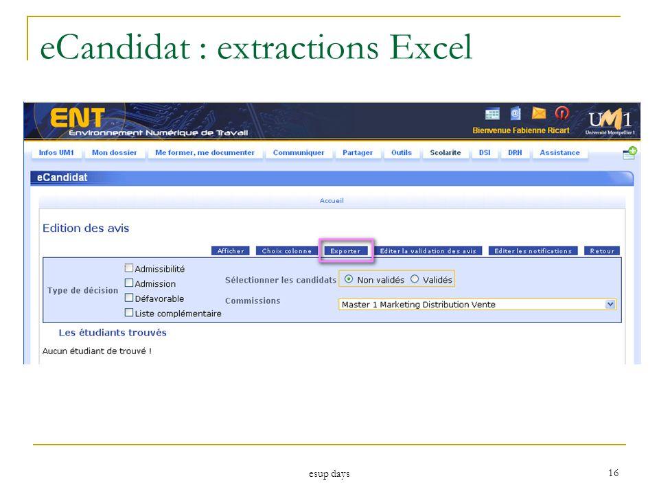 esup days 16 eCandidat : extractions Excel