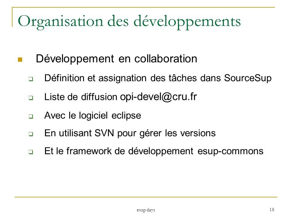esup days 18 Organisation des développements Développement en collaboration Définition et assignation des tâches dans SourceSup Liste de diffusion opi