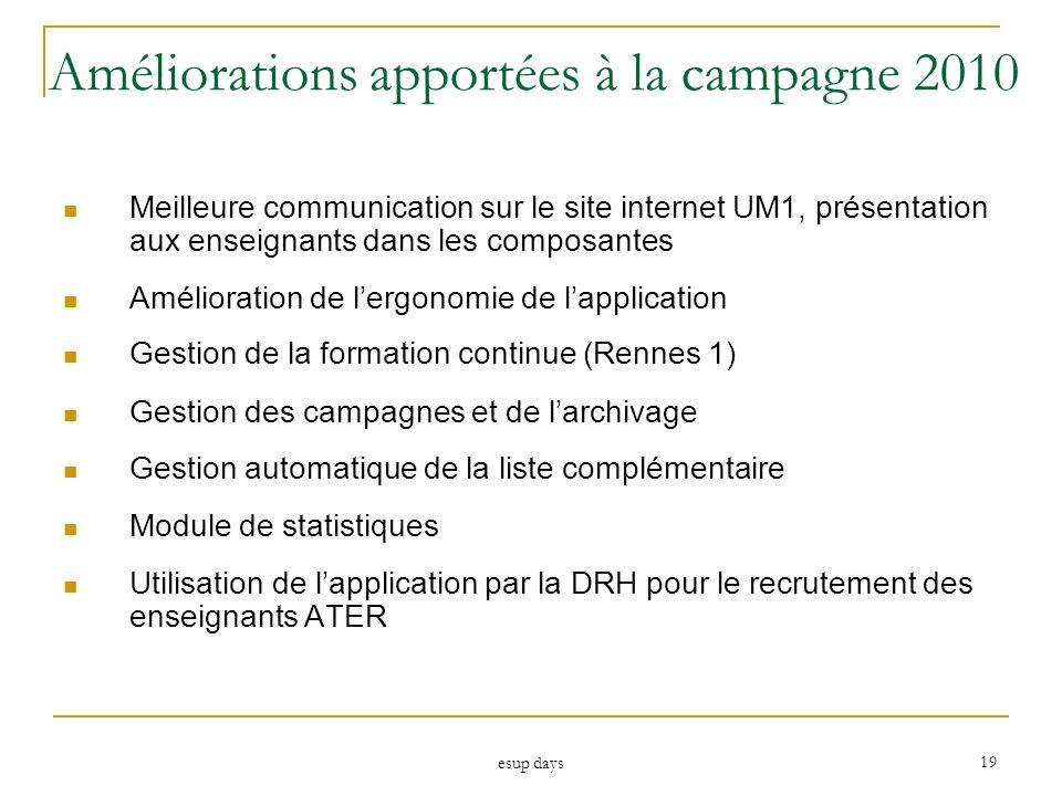 esup days 19 Améliorations apportées à la campagne 2010 Meilleure communication sur le site internet UM1, présentation aux enseignants dans les compos