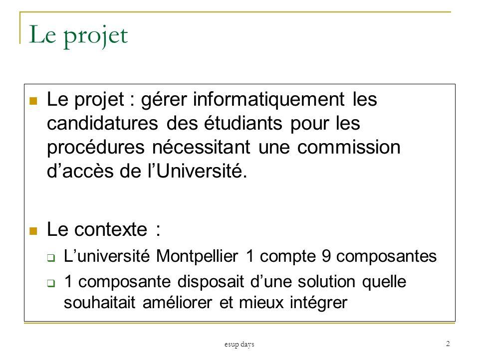 esup days 2 Le projet Le projet : gérer informatiquement les candidatures des étudiants pour les procédures nécessitant une commission daccès de lUniv