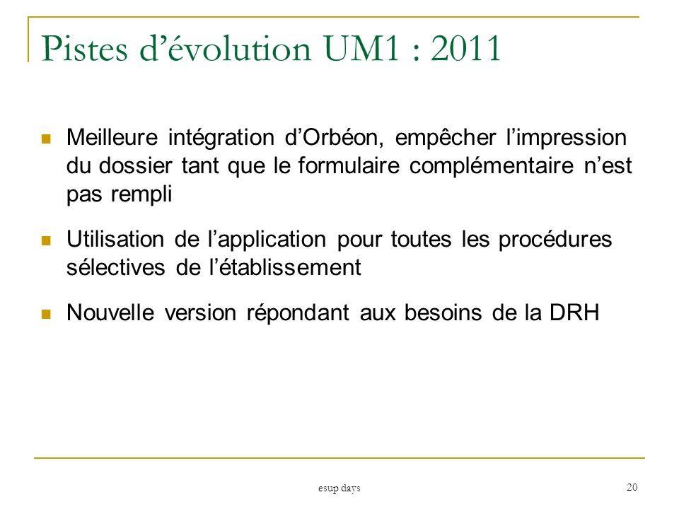 esup days 20 Pistes dévolution UM1 : 2011 Meilleure intégration dOrbéon, empêcher limpression du dossier tant que le formulaire complémentaire nest pa