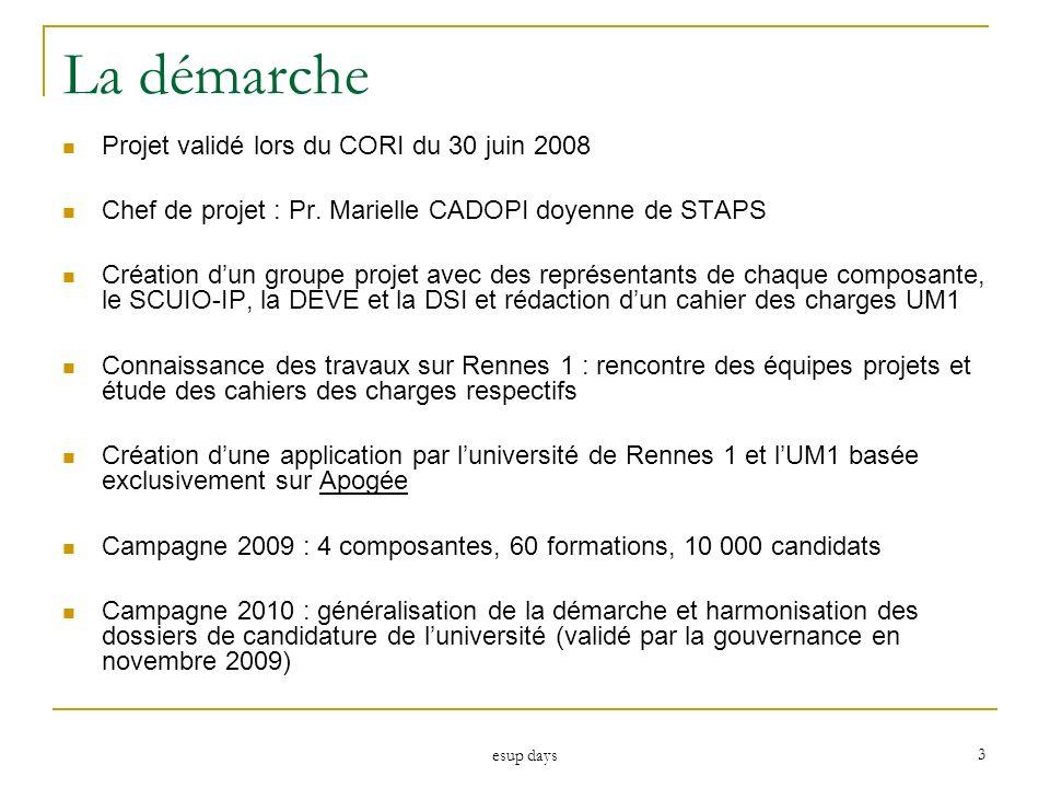 esup days 3 La démarche Projet validé lors du CORI du 30 juin 2008 Chef de projet : Pr. Marielle CADOPI doyenne de STAPS Création dun groupe projet av