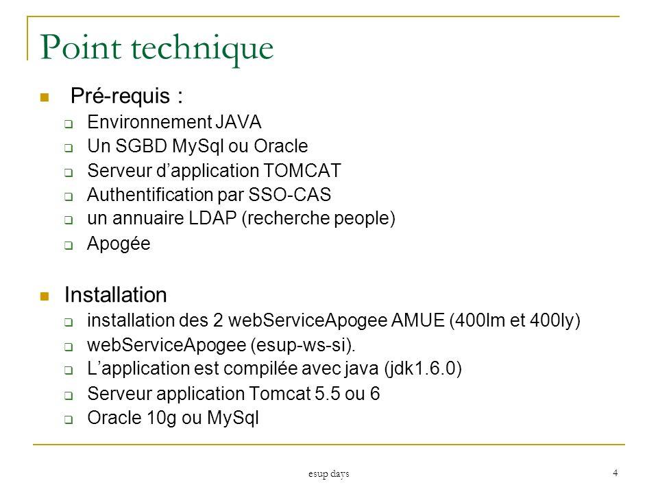 esup days 4 Point technique Pré-requis : Environnement JAVA Un SGBD MySql ou Oracle Serveur dapplication TOMCAT Authentification par SSO-CAS un annuai