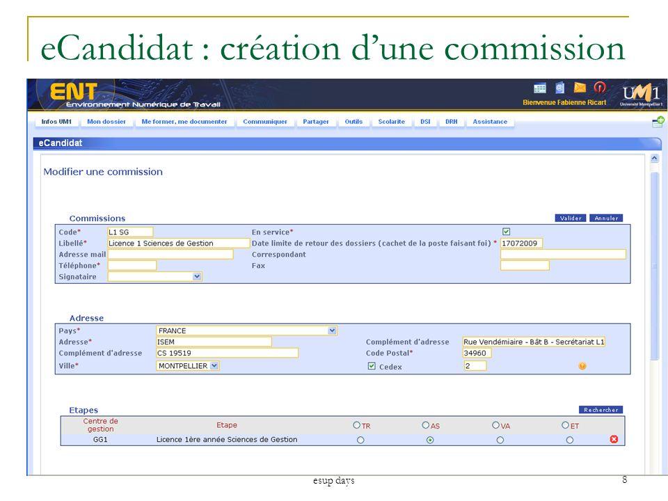 esup days 8 eCandidat : création dune commission