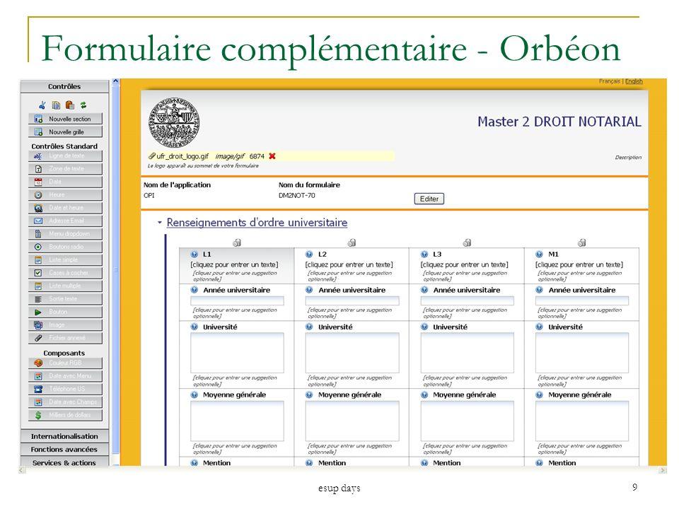 esup days 9 Formulaire complémentaire - Orbéon
