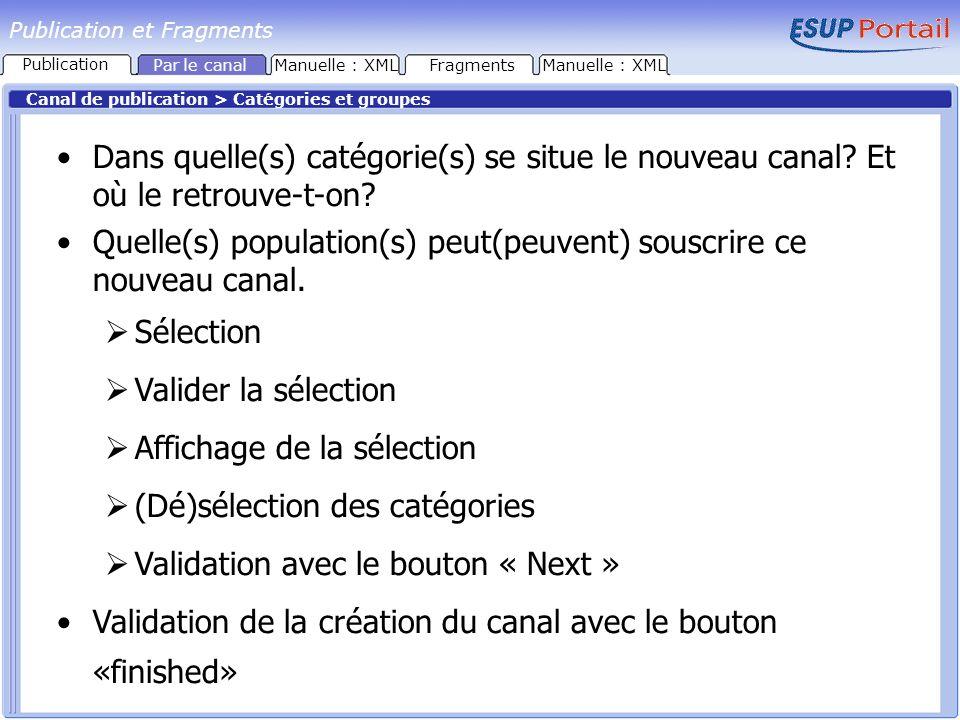 Publication et Fragments Canal de publication > Catégories et groupes Dans quelle(s) catégorie(s) se situe le nouveau canal? Et où le retrouve-t-on? Q