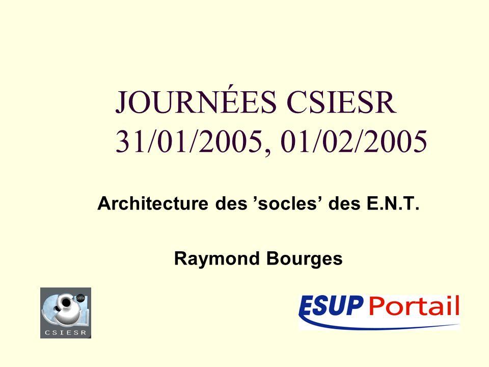JOURNÉES CSIESR 31/01/2005, 01/02/2005 Architecture des socles des E.N.T. Raymond Bourges