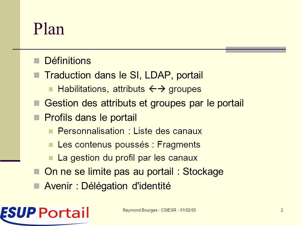 Raymond Bourges - CSIESR - 01/02/053 Problématique notion de profils Quelle est cette notion de profils .