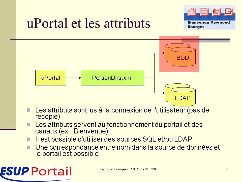 Raymond Bourges - CSIESR - 01/02/058 uPortal et les attributs uPortalPersonDirs.xml BDD LDAP Les attributs sont lus à la connexion de l utilisateur (pas de recopie) Les attributs servent au fonctionnement du portail et des canaux (ex : Bienvenue) Il est possible d utiliser des sources SQL et/ou LDAP Une correspondance entre nom dans la source de données et le portail est possible