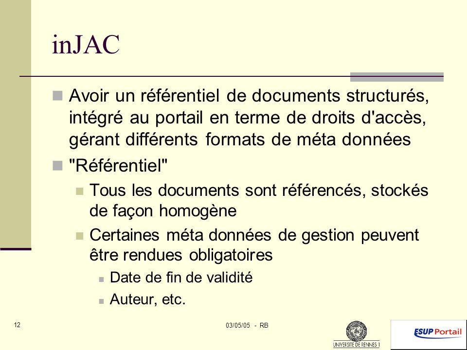 03/05/05 - RB 12 inJAC Avoir un référentiel de documents structurés, intégré au portail en terme de droits d accès, gérant différents formats de méta données Référentiel Tous les documents sont référencés, stockés de façon homogène Certaines méta données de gestion peuvent être rendues obligatoires Date de fin de validité Auteur, etc.