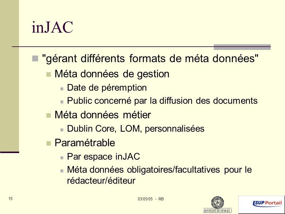 03/05/05 - RB 15 inJAC gérant différents formats de méta données Méta données de gestion Date de péremption Public concerné par la diffusion des documents Méta données métier Dublin Core, LOM, personnalisées Paramétrable Par espace inJAC Méta données obligatoires/facultatives pour le rédacteur/éditeur