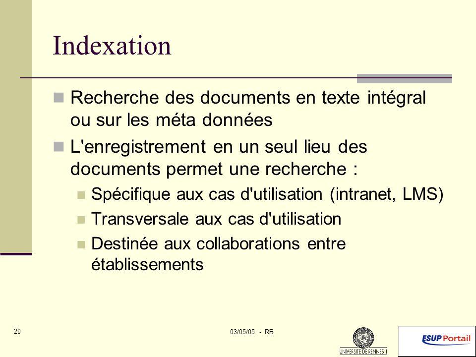 03/05/05 - RB 20 Indexation Recherche des documents en texte intégral ou sur les méta données L enregistrement en un seul lieu des documents permet une recherche : Spécifique aux cas d utilisation (intranet, LMS) Transversale aux cas d utilisation Destinée aux collaborations entre établissements