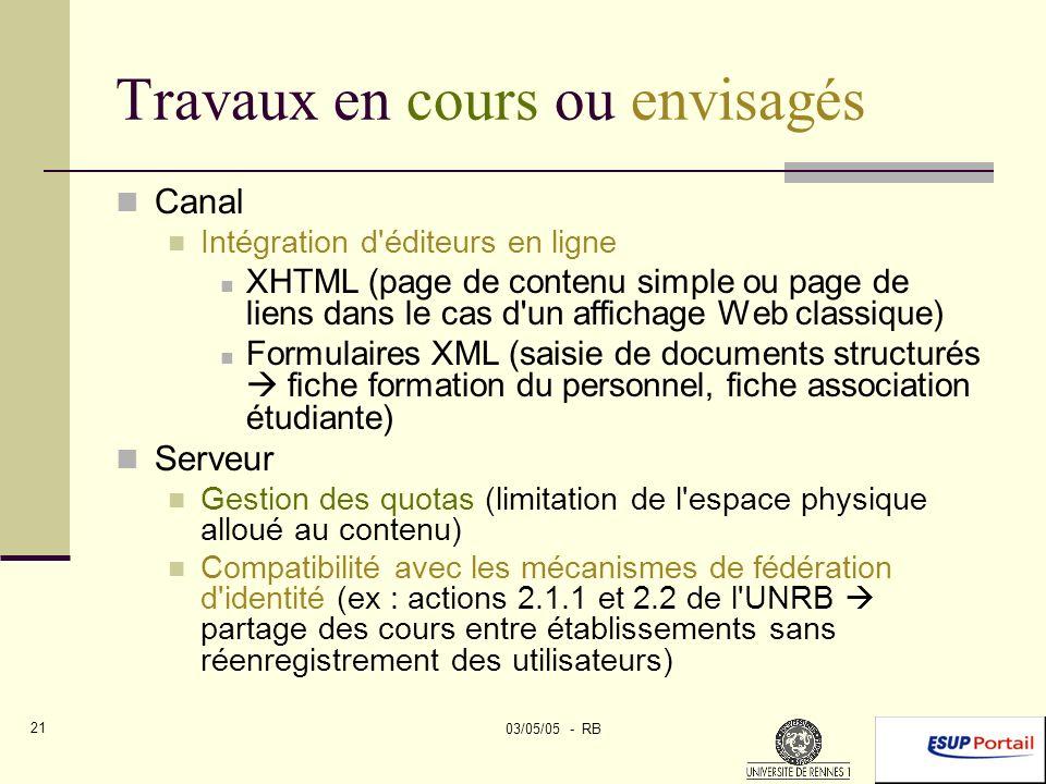 03/05/05 - RB 21 Travaux en cours ou envisagés Canal Intégration d éditeurs en ligne XHTML (page de contenu simple ou page de liens dans le cas d un affichage Web classique) Formulaires XML (saisie de documents structurés fiche formation du personnel, fiche association étudiante) Serveur Gestion des quotas (limitation de l espace physique alloué au contenu) Compatibilité avec les mécanismes de fédération d identité (ex : actions 2.1.1 et 2.2 de l UNRB partage des cours entre établissements sans réenregistrement des utilisateurs)