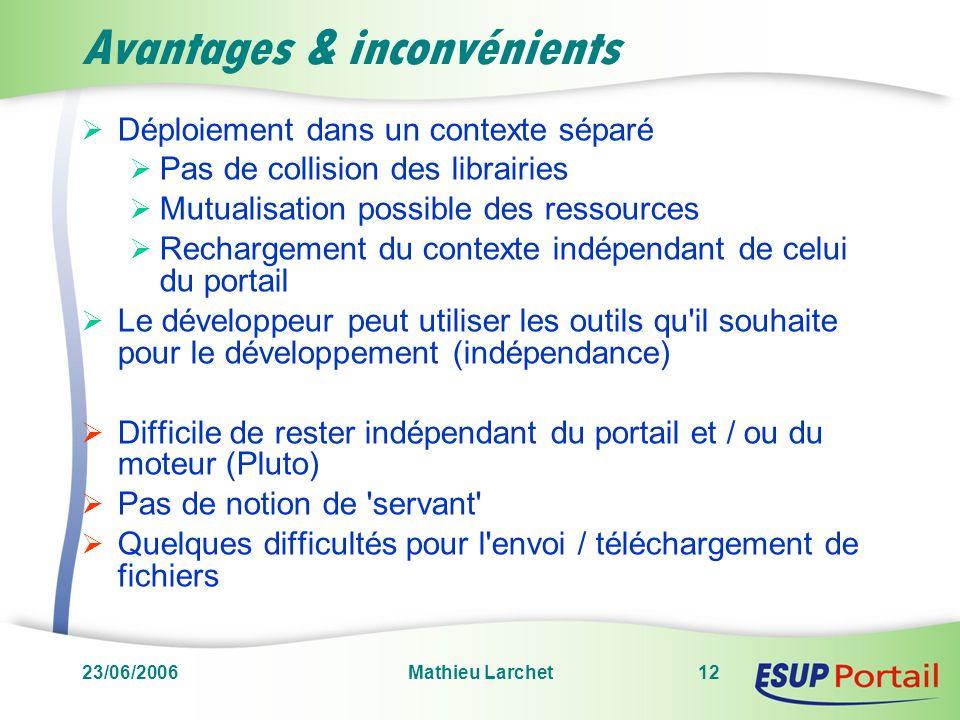 23/06/2006Mathieu Larchet12 Avantages & inconvénients Déploiement dans un contexte séparé Pas de collision des librairies Mutualisation possible des r