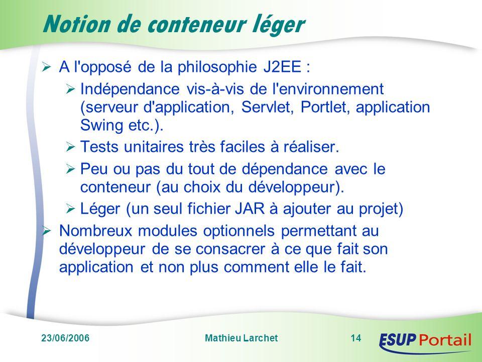 23/06/2006Mathieu Larchet14 Notion de conteneur léger A l'opposé de la philosophie J2EE : Indépendance vis-à-vis de l'environnement (serveur d'applica