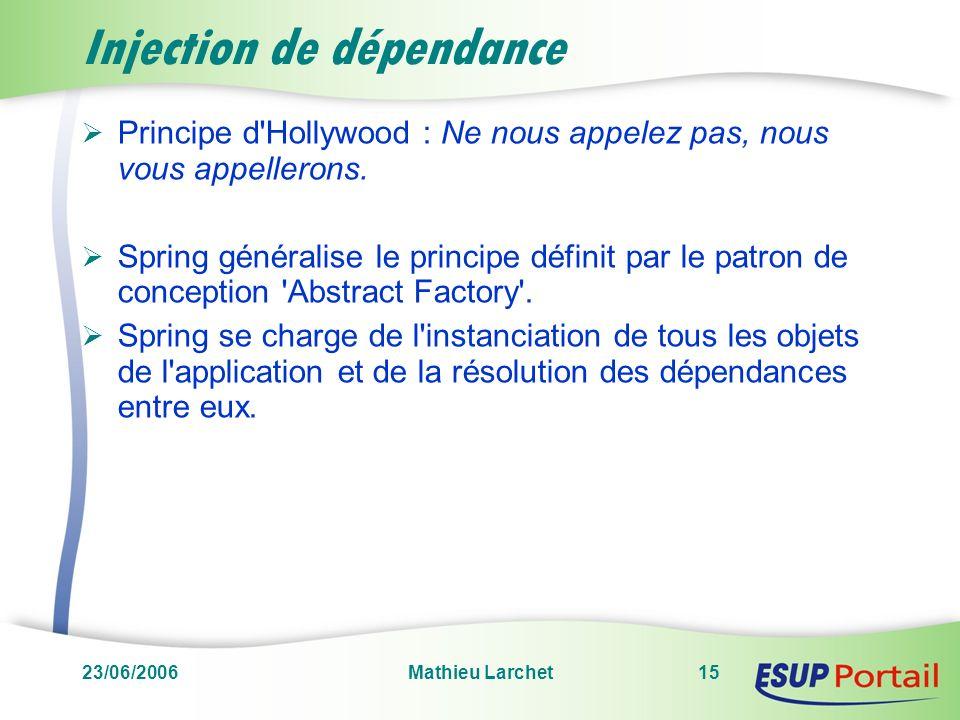 23/06/2006Mathieu Larchet15 Injection de dépendance Principe d'Hollywood : Ne nous appelez pas, nous vous appellerons. Spring généralise le principe d