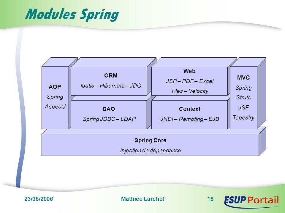 23/06/2006Mathieu Larchet18 Modules Spring Spring Core Injection de dépendance AOP Spring AspectJ DAO Spring JDBC – LDAP ORM Ibatis – Hibernate – JDO
