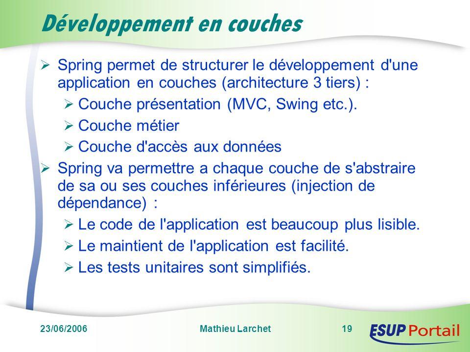 23/06/2006Mathieu Larchet19 Développement en couches Spring permet de structurer le développement d'une application en couches (architecture 3 tiers)