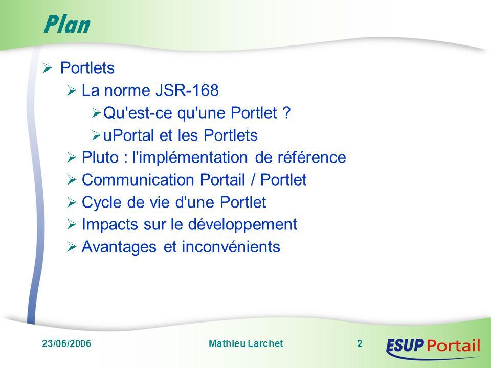 23/06/2006Mathieu Larchet2 Plan Portlets La norme JSR-168 Qu'est-ce qu'une Portlet ? uPortal et les Portlets Pluto : l'implémentation de référence Com