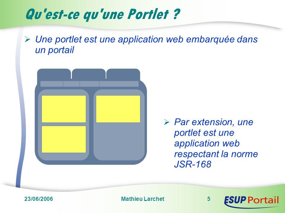 23/06/2006Mathieu Larchet5 Qu'est-ce qu'une Portlet ? Une portlet est une application web embarquée dans un portail Par extension, une portlet est une