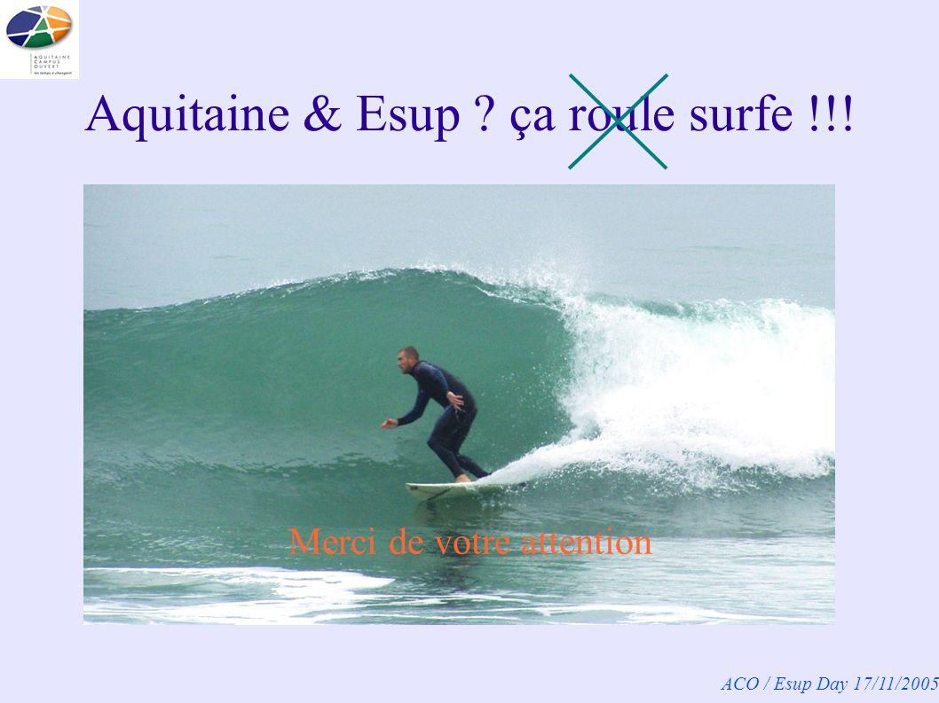 ACO / Esup Day 17/11/2005 Aquitaine & Esup ça roule surfe !!! Merci de votre attention