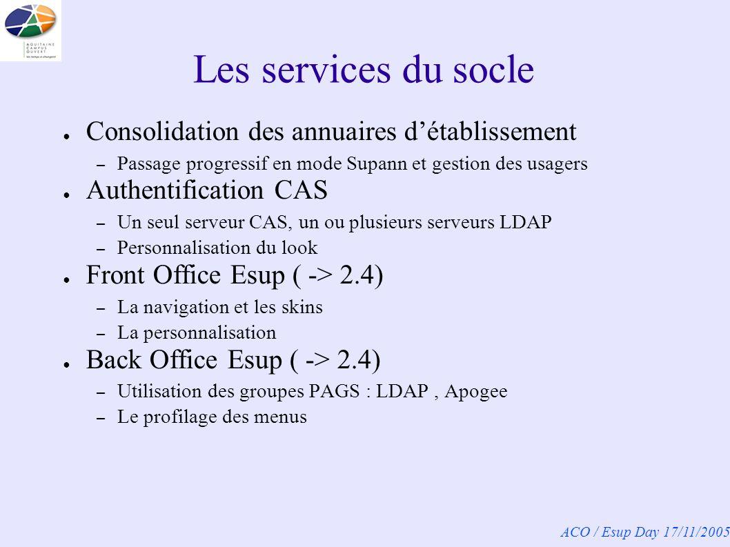 ACO / Esup Day 17/11/2005 Les services du socle Consolidation des annuaires détablissement – Passage progressif en mode Supann et gestion des usagers Authentification CAS – Un seul serveur CAS, un ou plusieurs serveurs LDAP – Personnalisation du look Front Office Esup ( -> 2.4) – La navigation et les skins – La personnalisation Back Office Esup ( -> 2.4) – Utilisation des groupes PAGS : LDAP, Apogee – Le profilage des menus