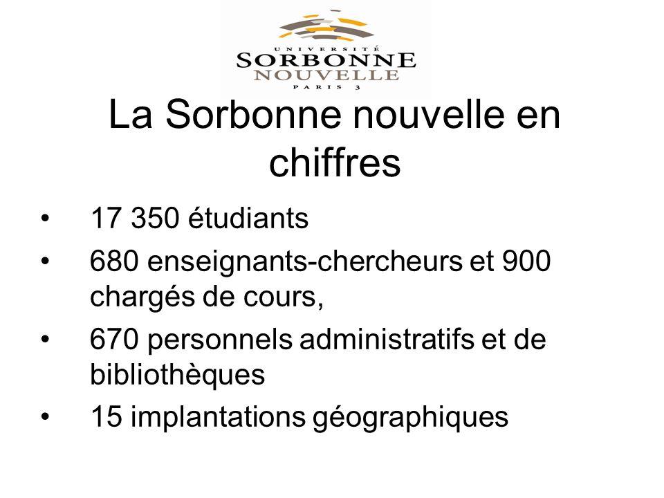 La Sorbonne nouvelle en chiffres 17 350 étudiants 680 enseignants-chercheurs et 900 chargés de cours, 670 personnels administratifs et de bibliothèques 15 implantations géographiques