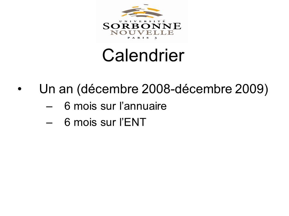 Calendrier Un an (décembre 2008-décembre 2009) –6 mois sur lannuaire –6 mois sur lENT