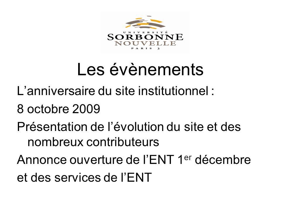 Les évènements Lanniversaire du site institutionnel : 8 octobre 2009 Présentation de lévolution du site et des nombreux contributeurs Annonce ouverture de lENT 1 er décembre et des services de lENT