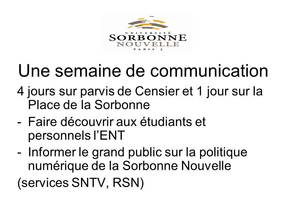 Une semaine de communication 4 jours sur parvis de Censier et 1 jour sur la Place de la Sorbonne -Faire découvrir aux étudiants et personnels lENT -Informer le grand public sur la politique numérique de la Sorbonne Nouvelle (services SNTV, RSN)