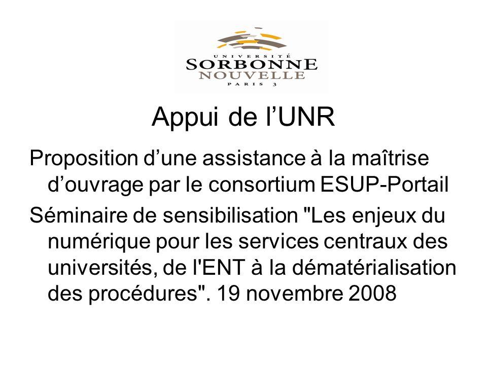 Appui de lUNR Proposition dune assistance à la maîtrise douvrage par le consortium ESUP-Portail Séminaire de sensibilisation Les enjeux du numérique pour les services centraux des universités, de l ENT à la dématérialisation des procédures .