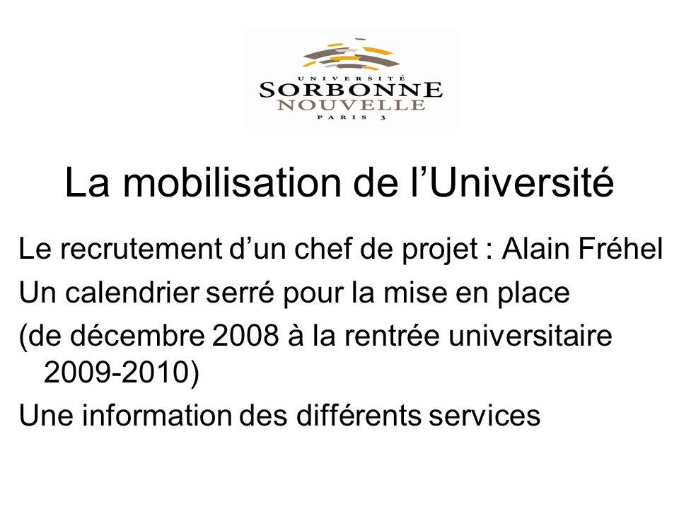 La mobilisation de lUniversité Le recrutement dun chef de projet : Alain Fréhel Un calendrier serré pour la mise en place (de décembre 2008 à la rentrée universitaire 2009-2010) Une information des différents services