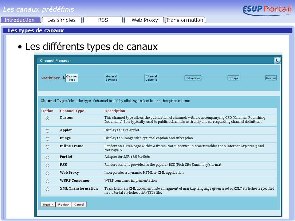 Image, applet, Inline Frame, WSRP Consumer, Portlet Les canaux de type Image, Applet, Inline Frame affichent directement les contenus doivent être situés dans larborescence : webapps/uPortal Les canaux de type WSRP Consumer (Web Services for Remote Portlets) Invocation de WSRP services par WSDL interface description Les canaux de type Portlet (JSR 168) Java API pour Portlets Interopérabilité : Les autres types de canaux ne sont utilisables que par uPortal IntroductionLes simplesRSSWeb ProxyTransformation Les canaux prédéfinis
