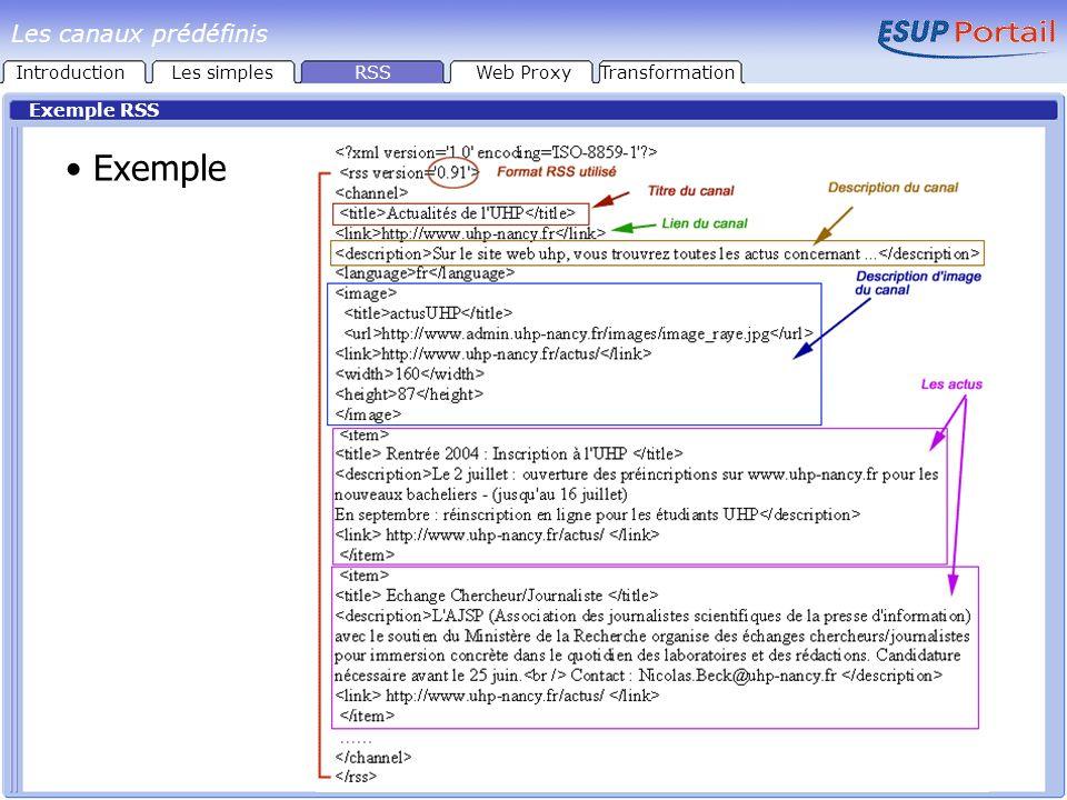 Exemple Exemple RSS IntroductionLes simplesRSSWeb ProxyTransformation Les canaux prédéfinis