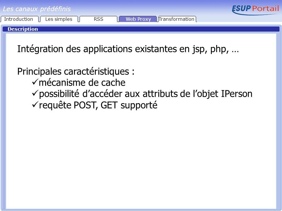 Paramètres IntroductionLes simplesRSSWeb ProxyTransformation Les canaux prédéfinis