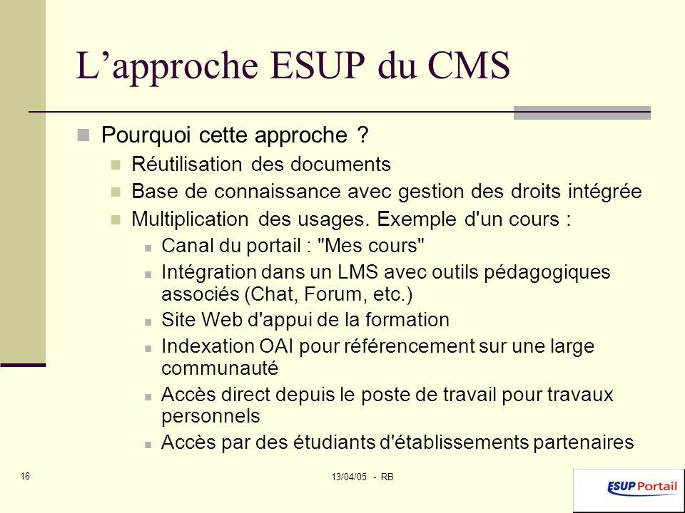 13/04/05 - RB 16 Lapproche ESUP du CMS Pourquoi cette approche .