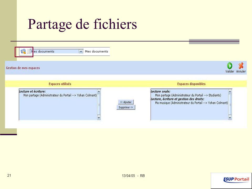 13/04/05 - RB 21 Partage de fichiers