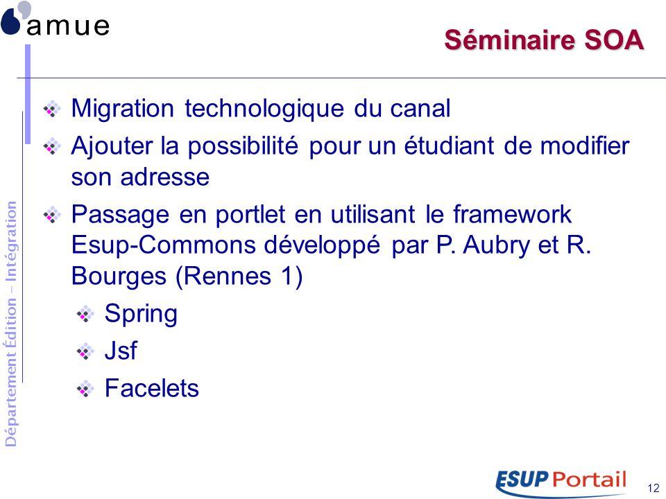 Département Édition - Intégration 12 Séminaire SOA Migration technologique du canal Ajouter la possibilité pour un étudiant de modifier son adresse Passage en portlet en utilisant le framework Esup-Commons développé par P.