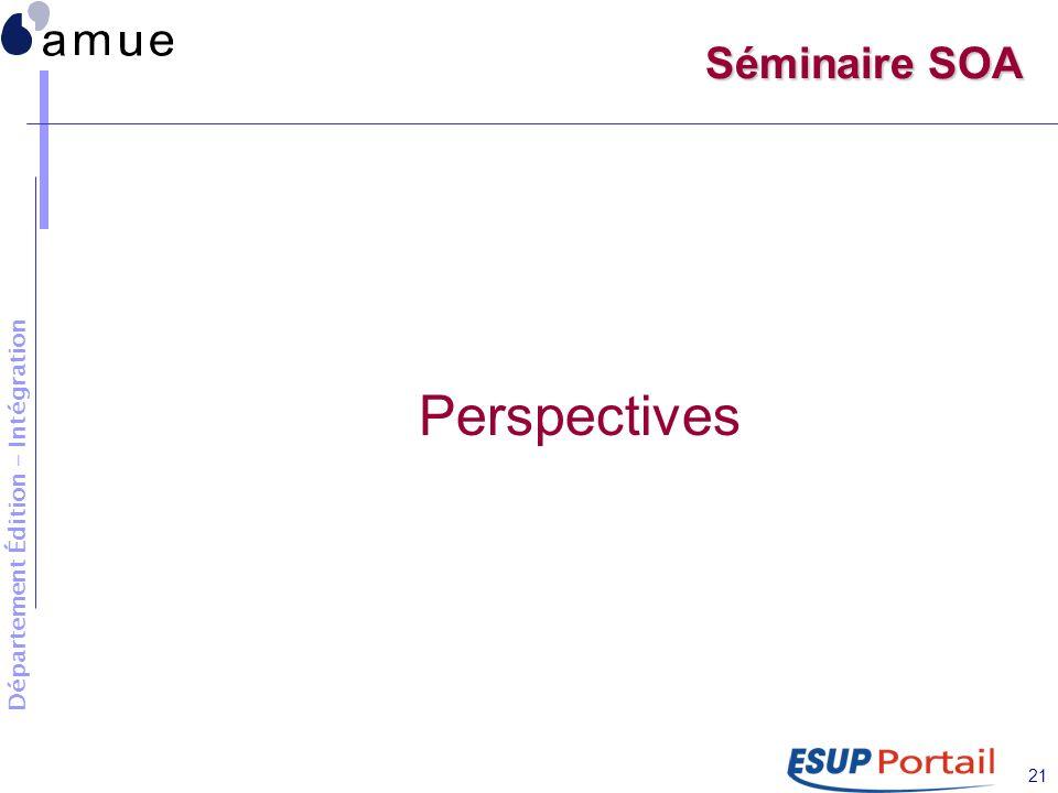 Département Édition - Intégration 21 Séminaire SOA Perspectives