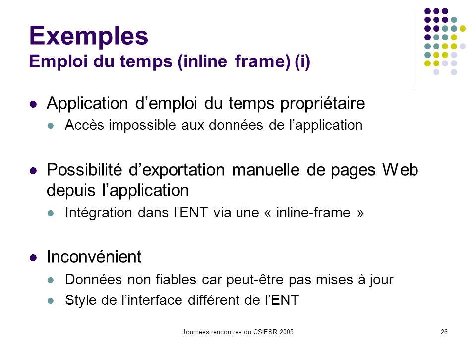 Journées rencontres du CSIESR 200526 Exemples Emploi du temps (inline frame) (i) Application demploi du temps propriétaire Accès impossible aux donnée