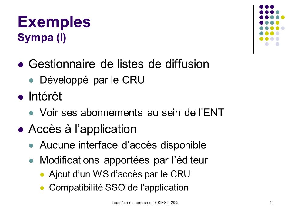 Journées rencontres du CSIESR 200541 Exemples Sympa (i) Gestionnaire de listes de diffusion Développé par le CRU Intérêt Voir ses abonnements au sein