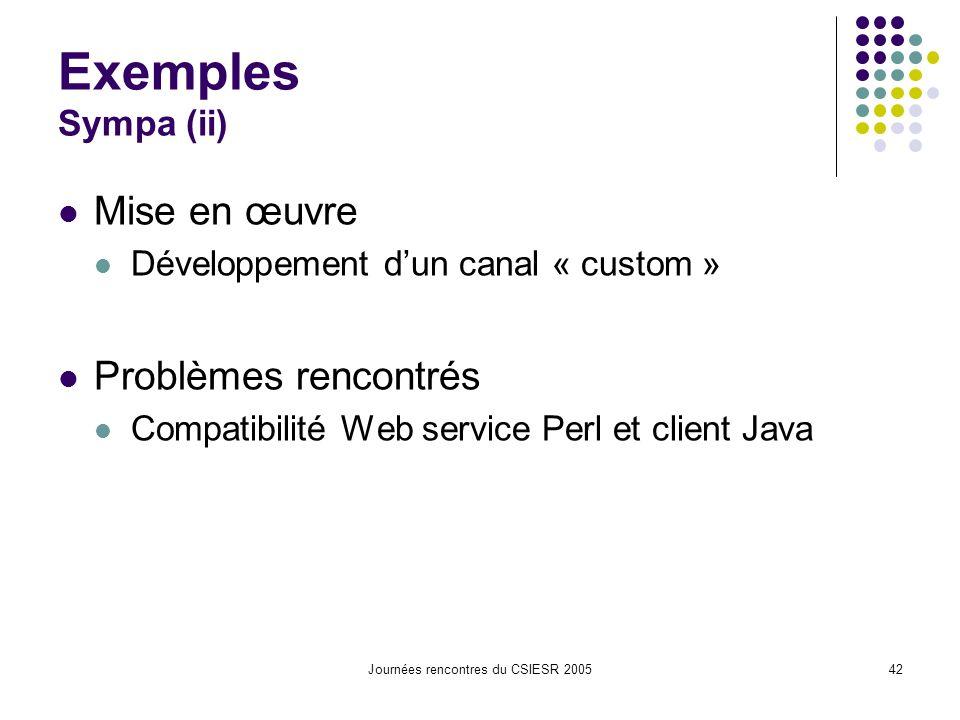 Journées rencontres du CSIESR 200542 Exemples Sympa (ii) Mise en œuvre Développement dun canal « custom » Problèmes rencontrés Compatibilité Web service Perl et client Java