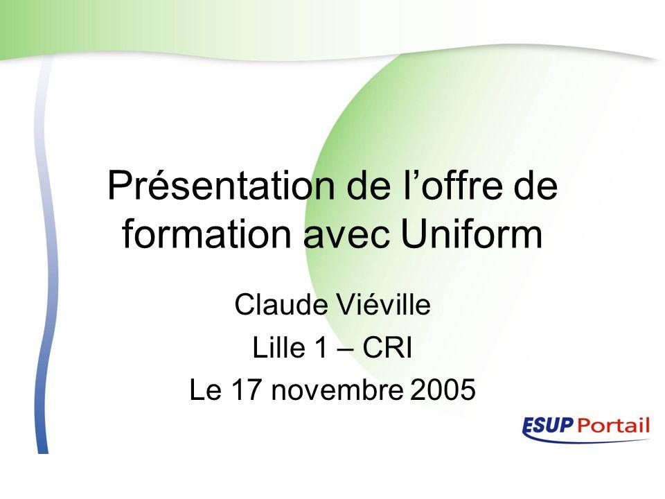 17 novembre 2005Journée Esup12 Architecture régionale (en cours de validation) OAIcat UNIFORM (servlet) Etab 3 OAIcat UNIFORM (servlet) Etab 4 OAIcat UNIFORM (servlet) Etab 2 OAIcat UNIFORM (servlet) Etab 1 Portail Régional (Esup- portail) POF régionale Moisonneur OAI Aggrégation index Notice XML Document CDM-fr