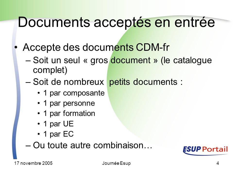 17 novembre 2005Journée Esup4 Documents acceptés en entrée Accepte des documents CDM-fr –Soit un seul « gros document » (le catalogue complet) –Soit de nombreux petits documents : 1 par composante 1 par personne 1 par formation 1 par UE 1 par EC –Ou toute autre combinaison…