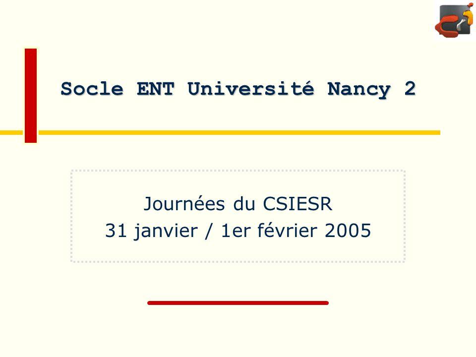 CRI Université Nancy 2Journées du CSIER : 31/01/2005 Page :2 Architecture logique ESUP Accès réseau Répartiteur de charge http(s) Portail SGBD WebDAV http + dav CAS https LDAP ldap