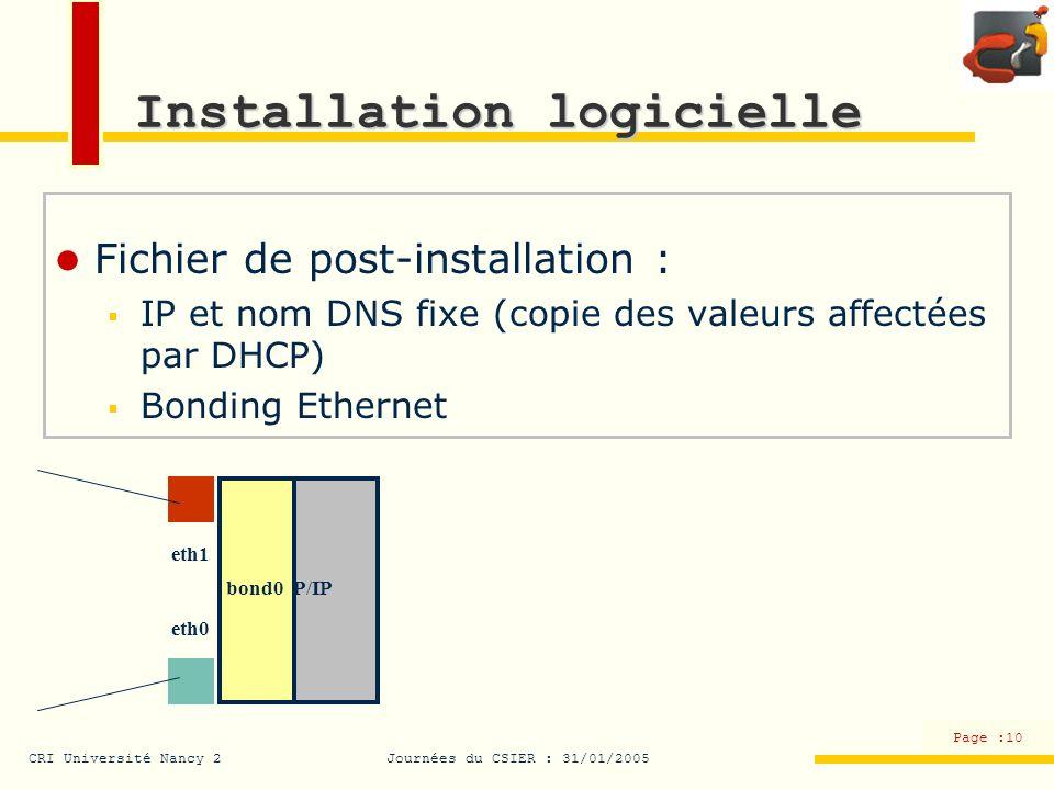 CRI Université Nancy 2Journées du CSIER : 31/01/2005 Page :10 TCP/IP Installation logicielle Fichier de post-installation : IP et nom DNS fixe (copie